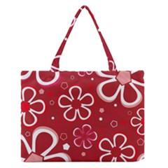 Flower Red Cute Medium Zipper Tote Bag
