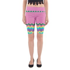 Easter Chevron Pattern Stripes Yoga Cropped Leggings