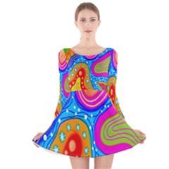 Doodle Pattern Long Sleeve Velvet Skater Dress