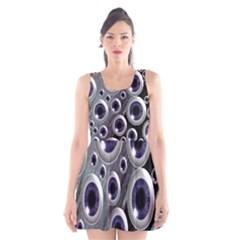 Eyeballs Pattern Scoop Neck Skater Dress