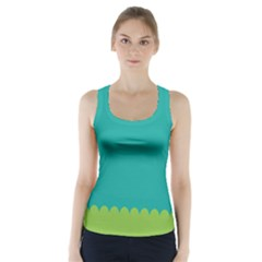 Green Blue Racer Back Sports Top
