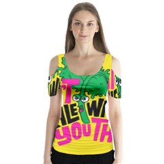 Idont Kale Think Butterfly Sleeve Cutout Tee