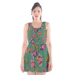Flowers Pattern Scoop Neck Skater Dress