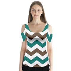 Green Chevron Butterfly Sleeve Cutout Tee