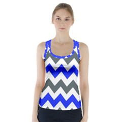 Grey And Blue Chevron Racer Back Sports Top