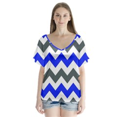 Grey And Blue Chevron Flutter Sleeve Top