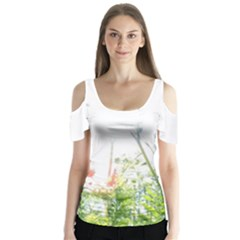 Carrot Flowers Butterfly Sleeve Cutout Tee