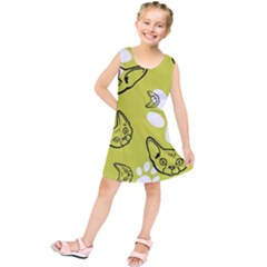 Face Cat Green Kids  Tunic Dress