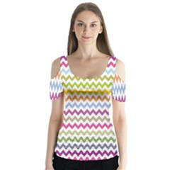 Color Full Chevron Butterfly Sleeve Cutout Tee