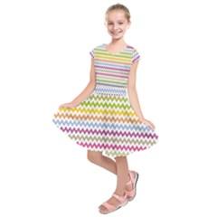 Color Full Chevron Kids  Short Sleeve Dress