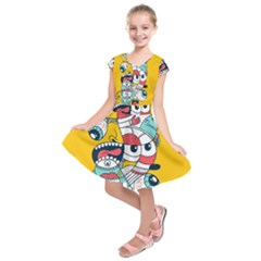 Monster Animals Kids  Short Sleeve Dress