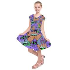 Monster Alien Ghost Kids  Short Sleeve Dress