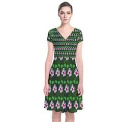 Floral Pattern  Short Sleeve Front Wrap Dress