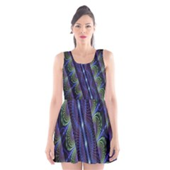 Fractal Blue Lines Colorful Scoop Neck Skater Dress