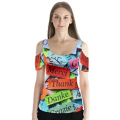 Thank You,danke Merci Butterfly Sleeve Cutout Tee