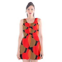 Heart Pattern Scoop Neck Skater Dress