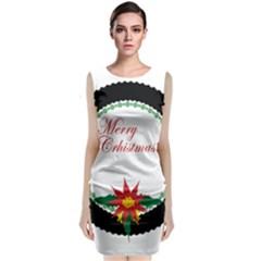Merry Christmas Poinsettia Holiday Winter Classic Sleeveless Midi Dress