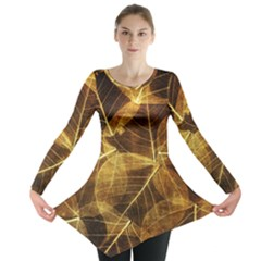Leaves Autumn Texture Brown Long Sleeve Tunic