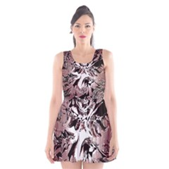 Metal Lighted Background Light Scoop Neck Skater Dress