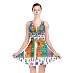 Painted Autos City Skyscrapers Reversible Skater Dress