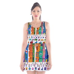 Painted Autos City Skyscrapers Scoop Neck Skater Dress