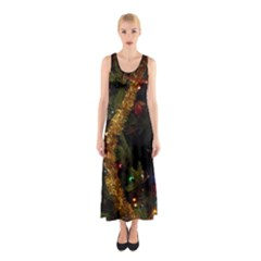 Night Xmas Decorations Lights  Sleeveless Maxi Dress