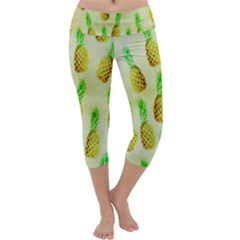 Pineapple Wallpaper Vintage Capri Yoga Leggings