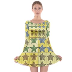 Pattern With A Stars  Long Sleeve Skater Dress
