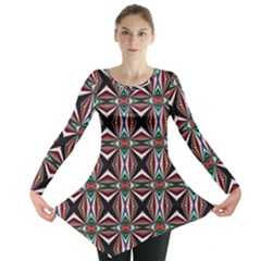 Plot Texture Background Stamping Long Sleeve Tunic