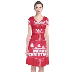Red Bokeh Christmas Background Short Sleeve Front Wrap Dress