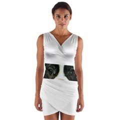 French Bulldog Brindle And White Eyes Wrap Front Bodycon Dress