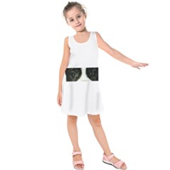 French Bulldog Brindle And White Eyes Kids  Sleeveless Dress