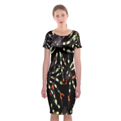 Spiders Background Classic Short Sleeve Midi Dress