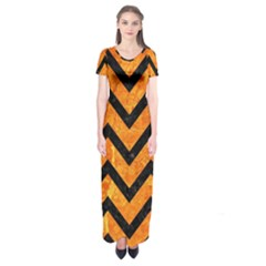 Chevron9 Black Marble & Orange Marble (r) Short Sleeve Maxi Dress
