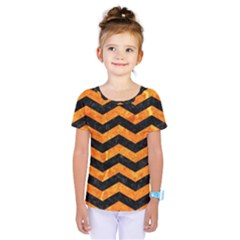 Chevron3 Black Marble & Orange Marble Kids  One Piece Tee