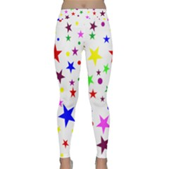 Stars Pattern Background Colorful Red Blue Pink Classic Yoga Leggings