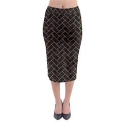 Brick2 Black Marble & Orange Marble Midi Pencil Skirt