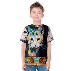 arty cat montage Kids  Cotton Tee