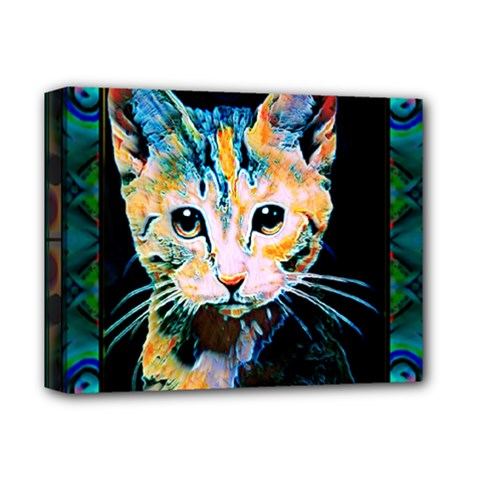 arty cat montage Deluxe Canvas 14  x 11  (Framed)