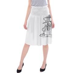 Cute christmas snowman  Midi Beach Skirt