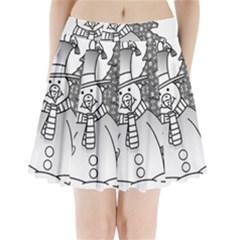 Cute christmas snowman  Pleated Mini Skirt