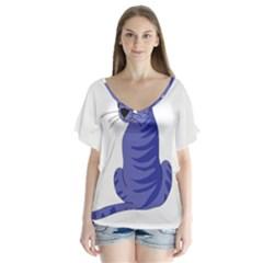 Blue cat Flutter Sleeve Top