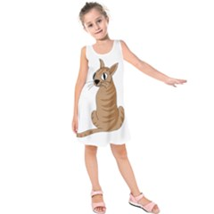 Brown Cat Kids  Sleeveless Dress