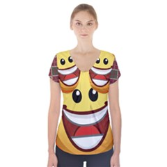 34174678 Xxl Put On Your Happy Face Emoji U1f61e Svg 1s Short Sleeve Front Detail Top