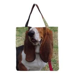 Basset Hound Sitting  Grocery Tote Bag