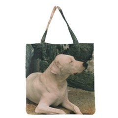 Dogo Argentino Laying  Grocery Tote Bag