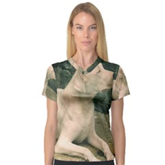 Dogo Argentino Laying  Women s V-Neck Sport Mesh Tee