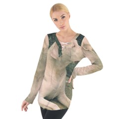 Dogo Argentino Laying  Women s Tie Up Tee