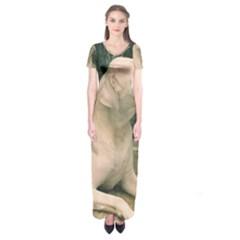 Dogo Argentino Laying  Short Sleeve Maxi Dress
