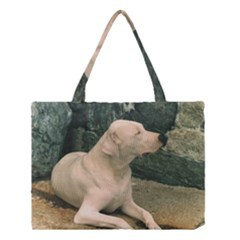 Dogo Argentino Laying  Medium Tote Bag